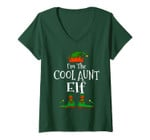 Womens I'm The Cool Aunt Elf Family Matching Funny Christmas Gift V-Neck T-Shirt