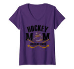 Womens Ice Hockey Mom Fueled By Coffee Mothers Day Gift For Women V-Neck T-Shirt