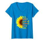 Womens In A World Full Of Grandmas Be A Lala Gift With Sunflower V-Neck T-Shirt