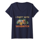 Womens I Party With Sasquatch Bigfoot Camping Vintage Funny Camper V-Neck T-Shirt