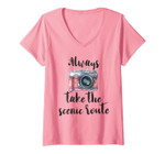 Womens Inspirational Quote Pink Watercolor Camera Photography V-Neck T-Shirt
