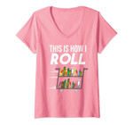 Womens Funny This Is How I Roll Librarian Gift Cool Book Cart Joke V-Neck T-Shirt