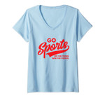 Womens Go Sports Do The Thing Win The Points Funny Red Text V-Neck T-Shirt
