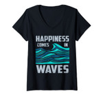 Womens Happiness Comes In Waves - Cool Vintage Surfer Surf Gift V-Neck T-Shirt