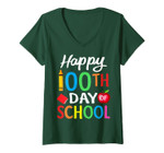 Womens Happy 100th Day Of School Shirt For Teacher Or Child V-Neck T-Shirt