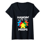 Womens Hanging With My Meeps - Funny Board Game Night V-Neck T-Shirt