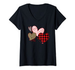 Womens Hearts And Arrows Leopard Plaid Valentines Day Shirts Women V-Neck T-Shirt