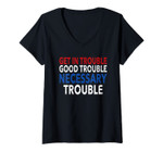 Womens Get In Good Necessary Trouble Congressman John Lewis Quote V-Neck T-Shirt
