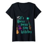 Womens It's Hocus Pocus Time Witches Wand Funny Halloween Costume V-Neck T-Shirt