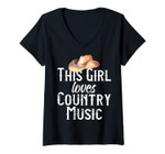 Womens This Girl Loves Country Music Lover Line Dancing Cowboy Hat V-Neck T-Shirt