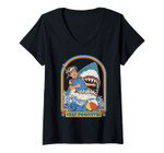 Womens This Is Me Funny Stay Positive Shark Attack Retro Comedy Tee V-Neck T-Shirt