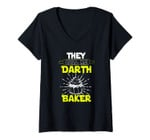 Womens They Call Me Darth Baker Parody | Funny Baking Foodie V-Neck T-Shirt