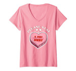 Womens Valentine's Day 2021 Please Stay 6 Feet Away Funny Gifts V-Neck T-Shirt