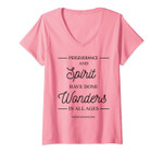 Womens Uplifting, Positive Message, 'Perseverance And Spirit' V-Neck T-Shirt