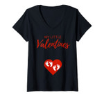 Womens Valentines Day Pregnancy Announcement Twins Baby Reveal V-Neck T-Shirt