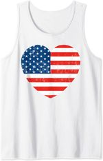 American Flag Heart 4th Of July Usa Patriotic Tank Top