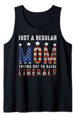 Just A Regular Mom Trying Not To Raise Liberals Us Flag Tank Top