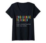 Womens Second Grade Teacher Shirt 2nd Vintage Definition Team V-Neck T-Shirt