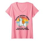 Womens Sloth Hiking Team, Retro Vintage Llama Gifts V-Neck T-Shirt
