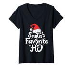 Womens Santa's Favorite Ho Funny Christmas Women Xmas Santa Gifts V-Neck T-Shirt