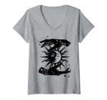 Womens Sun And Moon Hands Tarot Card Style V-Neck T-Shirt
