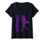Womens Womens Pickleball Player Typography V Neck Purple V-Neck T-Shirt