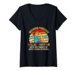 Womens Weekend Forecast Roller Skating Roller Skate Mom V-Neck T-Shirt