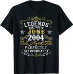 Legends Were Born In June 2004 17th Birthday Gift T-Shirt