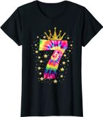 Colorful Tie Dye Number 7 Year Old Girls 7th Birthday T-Shirt