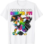 Dabbing Unicorn Preschool Graduation Cap Gown Gift Girls T-Shirt
