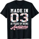 18 Year Old Girls Teens Teen For 18th Birthday Born in 2003 T-Shirt