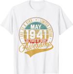 80th Birthday Gift Retro May 1941 80 Yrs Old 80th Bday T-Shirt