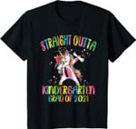 Kids Straight Outta Kindergarten Grad Dabbing Unicorn Graduate T-Shirt