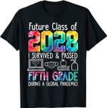 Vng5 Colourful Class Of 2028 Fifth Grade Back To School T-Shirt