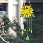 Sunflower Stained Glass Window Hanging