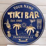 Palm Tree Custom Pool & Bar Sign, Tiki Bar Sign Custom Your Text, Custom Wood Sign All Over Printed
