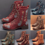 WOMEN RETRO FLOWERS EMBROIDERED LEATHER STRAPPY ZIPPER BOOTS