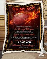Custom Fleece Blanket - Football Blanket - For Son From Mom - Journey
