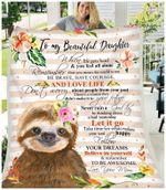 Fleece Blanket - Sloth - Daughter (Mom) - Remember To Be Awesome