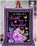 Teemodel - Fleece Blanket - Butterfly - As Long As I Breathe You'Ll Be Remembered