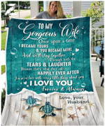 Teemodel - Custom Fleece Blanket - Turtle - To My Wife - Once Upon A Time (Ocean)