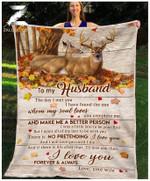 Teemodel - Custom Fleece Blanket - To My Husband - Deer - I Have Found The One Whom My Soul Loves