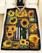 Blanket - Hippie - Sunflowers And Flag