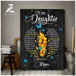 To My Daughter(Mom) Heart Wall Art Canvas
