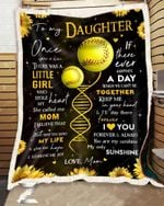 Custom Fleece Blanket - Softball - For Daughter From Mom - Once Upon A Time
