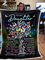 Custom Fleece Blanket - Butterfly - For Daughter From Mom - Remember Whose Daughter You Are