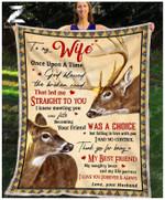 Custom Fleece Blanket - To My Wife - Wedding Anniversary - Deer - God Blessed The Broken Road