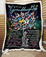 Custom Fleece Blanket - Butterfly - For Granddaughter From Grandma - Remember Whose Daughter You Are