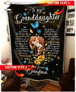 Custom Fleece Blanket - For Granddaughter From Grandma - Cow - I Will Always Be There For You - Heart