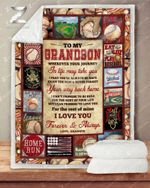Personalized Blanket - Baseball - Grandson (Grandpa) - Wherever Your Journey In Life May Take You